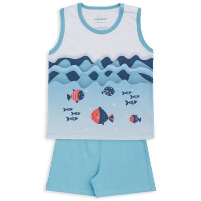 Imagem 1 do produto Pijama regata em suedine Little Fish - Dedeka - DDK18200/L44 PIJAMA SUEDINE AZUL SERENO-1
