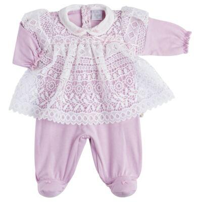 Imagem 2 do produto Jogo Maternidade para bebe com Macacão Vestido e Manta em suedine Carlota - Beth Bebê