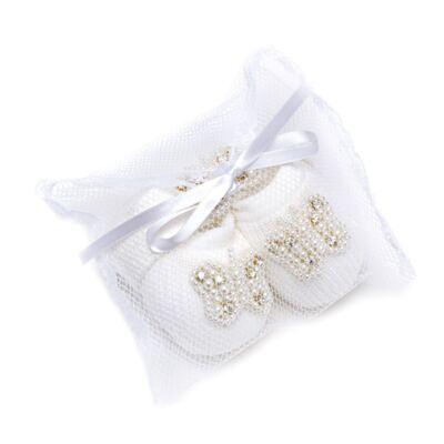 Imagem 7 do produto Sapatinho para bebe em tricot com Faixa Borboleta Pérolas Marfim - Roana