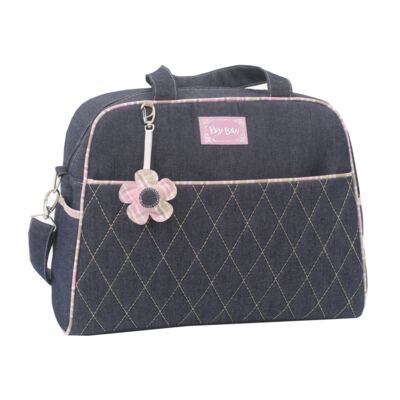 Imagem 2 do produto Bolsa maternidade para bebe + Frasqueira Flowers Jeans - Hey Baby