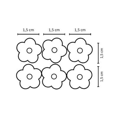 Imagem 2 do produto Kit 6 Flores Crochê c/ velcro Vermelho/Branco/Marinho - Roana
