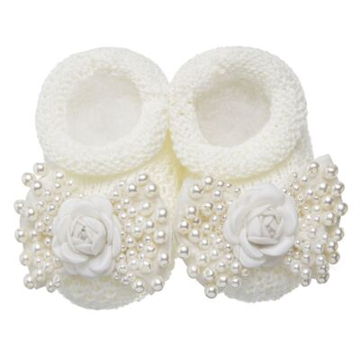Imagem 2 do produto Sapatinho em tricot com Faixa Laço & Flor Marfim - Roana