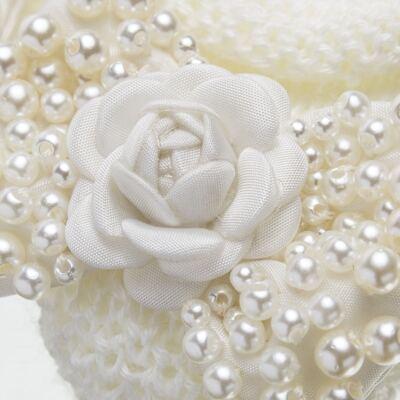 Imagem 3 do produto Sapatinho em tricot com Faixa Laço & Flor Marfim - Roana