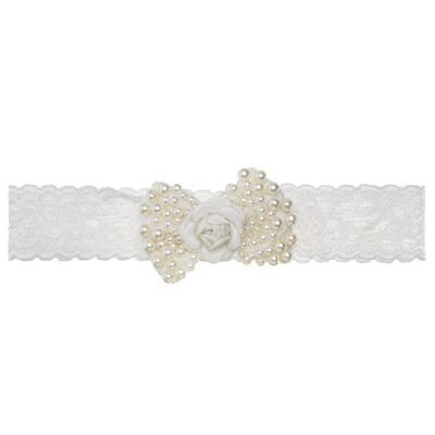 Imagem 5 do produto Sapatinho em tricot com Faixa Laço & Flor Marfim - Roana
