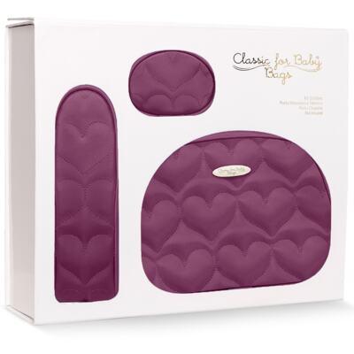 Imagem 2 do produto Kit Acessórios para bebe Coração Matelassê Vinho - Classic for Baby Bags