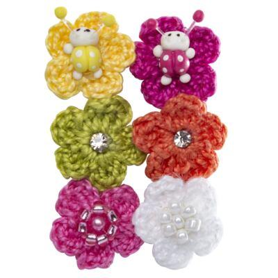 Imagem 1 do produto Kit 6 Flores Crochê c/ velcro Colors - Roana