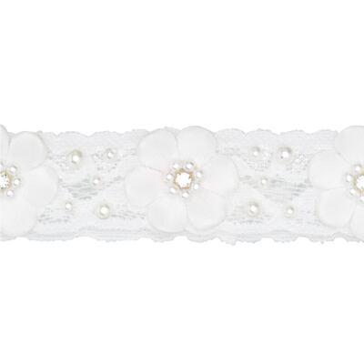Imagem 2 do produto Faixa renda Mini Flores Branca - Roana