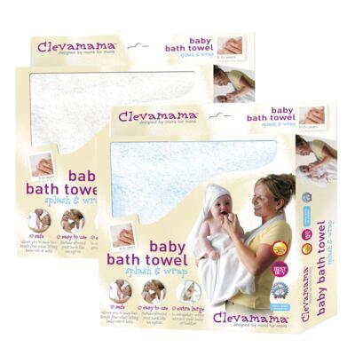 Imagem 1 do produto Kit: 2 Toalhas Mamãe Bebê com capuz Branca e Azul - Clevamama