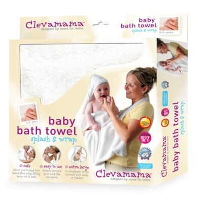 Imagem 2 do produto Kit: 2 Toalhas Mamãe Bebê com capuz Branca e Azul - Clevamama