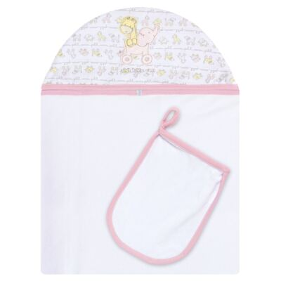 Imagem 1 do produto Toalha com capuz + Luva para bebe Elefantinha - Classic for Baby