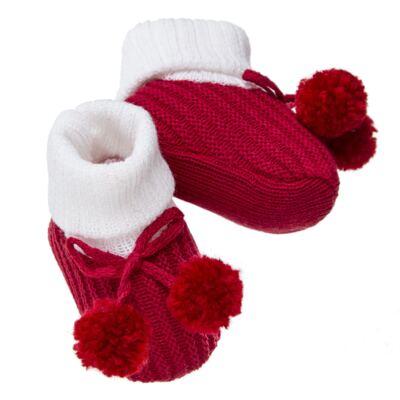 Imagem 2 do produto Botinha pompom em tricot Branca/Vermelha - Roana