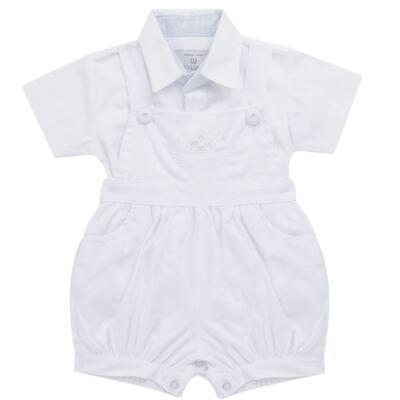 Imagem 1 do produto Jardineira c/ Camisa para bebe em tricoline Branca - Sylvaz - SZ411 Conjunto curto Batizado Branco-G
