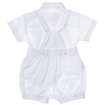 Imagem 2 do produto Jardineira c/ Camisa para bebe em tricoline Branca - Sylvaz - SZ411 Conjunto curto Batizado Branco-G