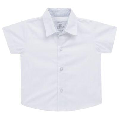 Imagem 3 do produto Jardineira c/ Camisa para bebe em tricoline Branca - Sylvaz - SZ411 Conjunto curto Batizado Branco-G
