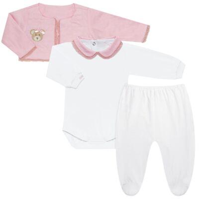 Imagem 1 do produto Conjunto Matelassê para bebe Ursinha: Casaco + Body longo + Calça - Roana