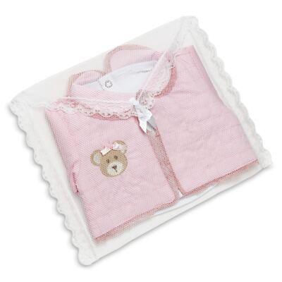 Imagem 8 do produto Conjunto Matelassê para bebe Ursinha: Casaco + Body longo + Calça - Roana