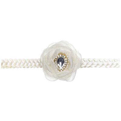 Imagem 2 do produto Faixa de cabelo trançada Flor Pedraria & Strass Marfim - Roana
