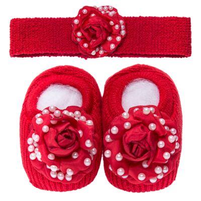 Imagem 1 do produto Sapatinho em tricot com Faixa Flor & Pérolas Vermelha - Roana
