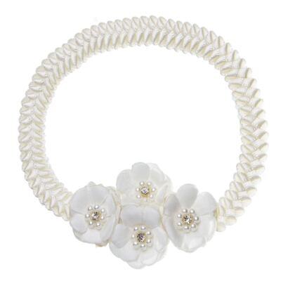 Imagem 1 do produto Faixa de cabelo trançada Bouquet & Pérolas Marfim - Roana
