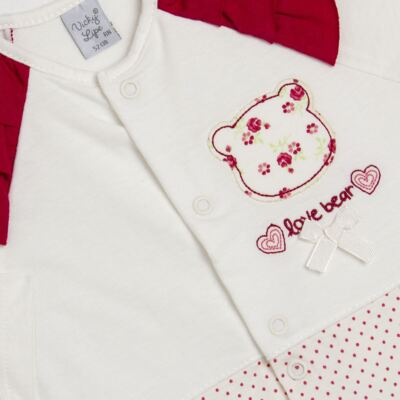 Imagem 2 do produto Macacão babadinhos para bebe em malha Flowery Bear - Vicky Lipe - 20741360 MACACÃO ML C/REC E BABADOS MALHA URSA FLORAL-RN