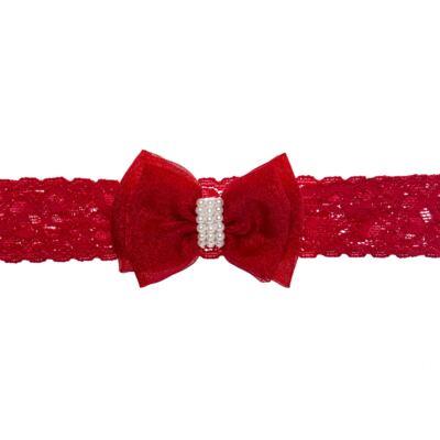 Imagem 1 do produto Faixa renda Laço Organza & Pérolas Vermelha - Roana