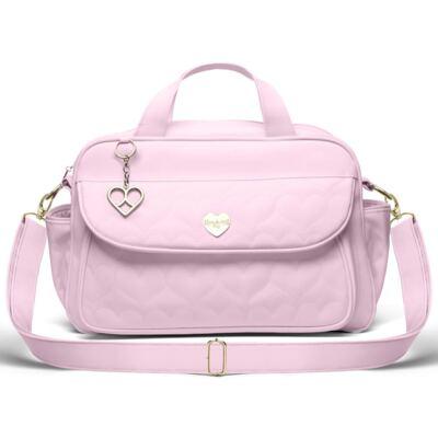 Imagem 1 do produto Bolsa maternidade para bebe Málaga Corações Matelassê Rosa - Classic for Baby Bags