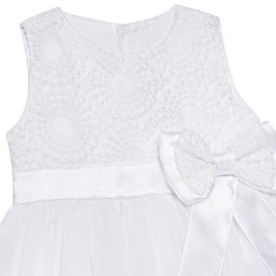 Imagem 2 do produto Vestido para bebê em organza Laço Branco - Sylvaz - SZ1064 VESTIDO BATIZADO REGATA LAÇO BRANCO-G