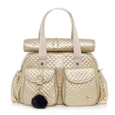 Imagem 2 do produto Bolsa maternidade + Frasqueira New Metálica Ouro - Lequiqui