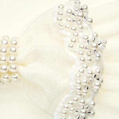 Imagem 2 do produto Faixa meia Laço Renda & Pérolas Marfim - Roana