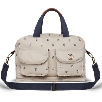 Imagem 1 do produto Bolsa maternidade para bebe Ibiza Navy em sarja Caqui - Classic for Baby Bags