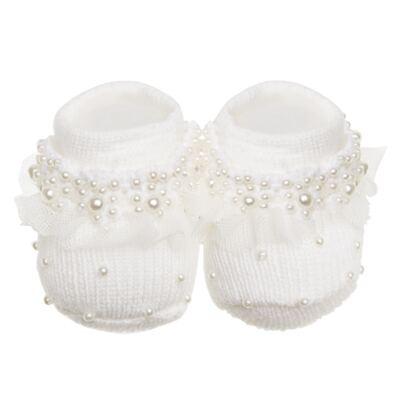 Imagem 1 do produto Sapatinho para bebe em tricot Tule & Pérolas Marfim - Roana