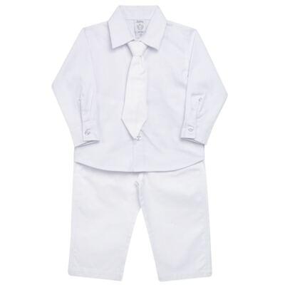 Imagem 1 do produto Camisa & Gravata c/ Calça para bebe em tricoline Branco - Sylvaz - SZ745 CONJUNTO BATIZADO C/ GRAVATA BRANCO-P
