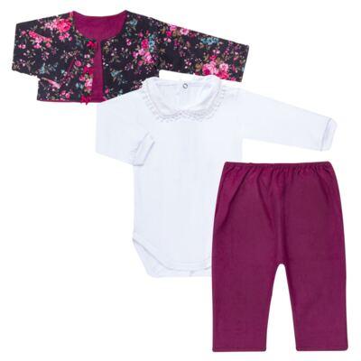 Imagem 1 do produto Conjunto Pagão Floral: Casaquinho + Body longo + Calça - Roana