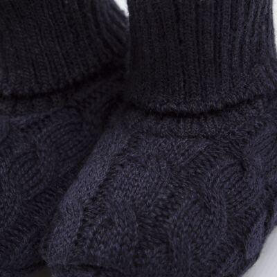 Imagem 2 do produto Botinha para bebe em tricot trançado Marinho - Mini Sailor