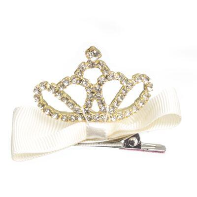 Imagem 1 do produto Presilha laço Coroa & Strass Marfim - Roana