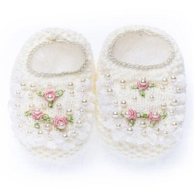 Imagem 1 do produto Sapatinho em tricot Renda Pérolas & Mini Flores Marfim - Roana