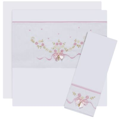 Imagem 1 do produto Jogo de lençol para berço em malha Laços & Strass - Roana