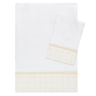 Imagem 1 do produto Kit Amamentação: 1 paninho de ombro + 1 paninho de boca para bebe em fralda Matelassê & Pérolas Marfim - Roana
