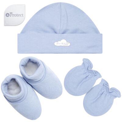 Imagem 1 do produto Kit c/ Touca, Luva e Sapatinho em suedine Baby Protect Azul - Mini & Kids
