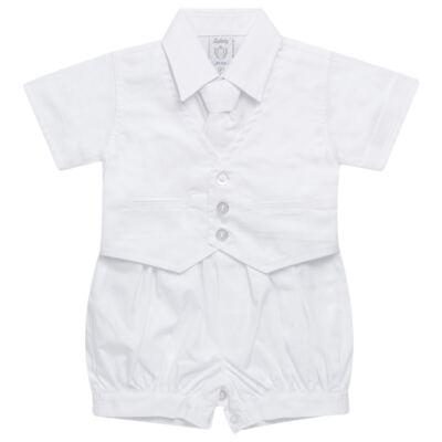 Imagem 1 do produto Camisa Colete & Gravata com Shorts em tricoline Branco - Sylvaz - SZ487 CONJUNTO CURTO BATIZADO C/ COLETE E GRAVATA-M