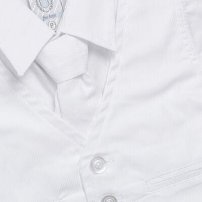 Imagem 2 do produto Camisa Colete & Gravata com Shorts em tricoline Branco - Sylvaz - SZ487 CONJUNTO CURTO BATIZADO C/ COLETE E GRAVATA-M