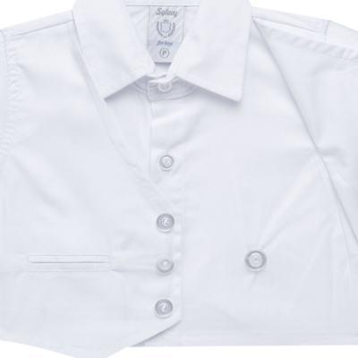 Imagem 4 do produto Camisa Colete & Gravata com Shorts em tricoline Branco - Sylvaz - SZ487 CONJUNTO CURTO BATIZADO C/ COLETE E GRAVATA-M