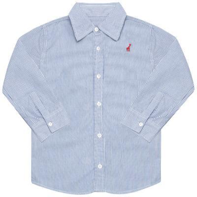 Imagem 1 do produto Camisa para bebe em tricoline listrado azul - Toffee - 1214C89660 CAMISA ML TECIDO AZ-9-12