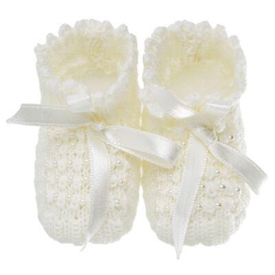 Imagem 1 do produto Botinha para bebe em tricot Laço cetim & pérolas Marfim - Roana
