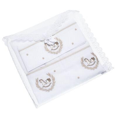Imagem 6 do produto Kit Amamentação: 1 paninho de ombro + 1 paninho de boca em fralda Cavalinho - Roana
