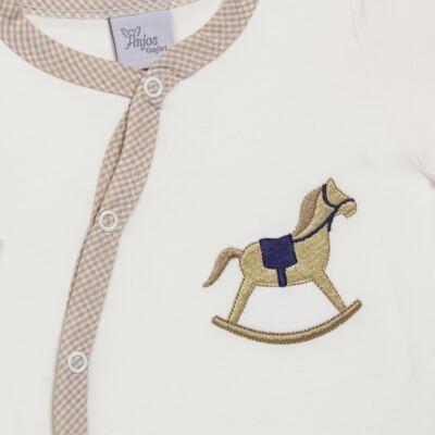 Imagem 2 do produto Macacão longo para bebe em suedine Little Horse - Anjos Baby - AB1658029 MACACAO LONGO LISO MASC -P