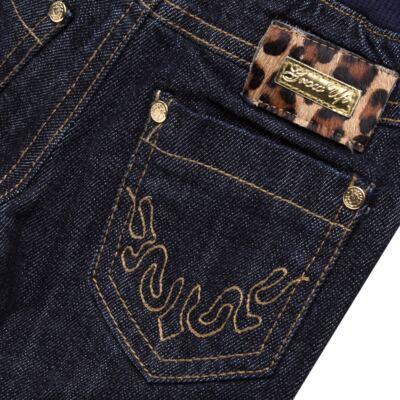 Imagem 3 do produto Calça para bebe jeans c/ cós em ribana e barra dobrável - Grow Up - 03060163.0058 CALCA DENIM FEM FORRADA JEANS-G