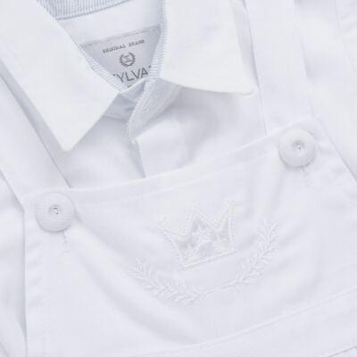 Imagem 5 do produto Jardineira c/ Camisa para bebe em tricoline Branca - Sylvaz - SZ411 Conjunto curto Batizado Branco-M