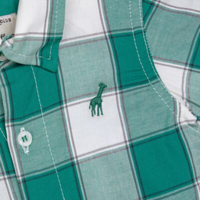 Imagem 2 do produto Macacão Polo para bebe em tricoline Xadrez Verde/Branco - Toffee - 30GP0001.319 MACACÃO M/C GOLA POLO - TRICOLINE-6-9