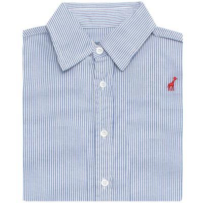 Imagem 2 do produto Camisa para bebe em tricoline listrado azul - Toffee - 1214C89660 CAMISA ML TECIDO AZ-3-6